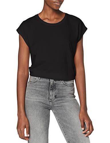 NOISY MAY Damen NMMATHILDE S/S LOOSE LONG TOP NOOS T-Shirt, Schwarz (Black Black), 40 (Herstellergröße: L)