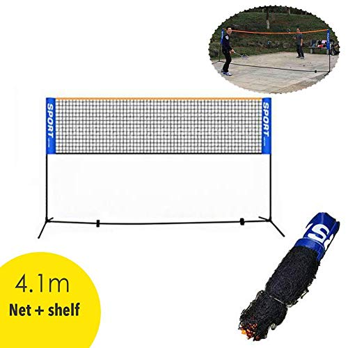 mysticall 4.1M Portable Badminton Net Set with Bracket Poles, Standard Badminton Net for Indoor Outdoor Tennis, Soccer Tennis, Kids Volleyball -Nylon Sports Net