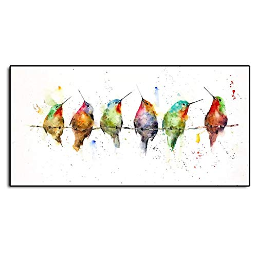 Willion Colibrí en un Alambre Arte Minimalista Lienzo póster Pintura Cuadro de Pared impresión decoración Moderna para el hogar -50x100 cm / 19,7