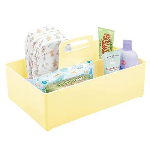 mDesign Cesta organizadora Extragrande para Cuarto de bebé – Práctica Caja con asa y 2 Compartimentos, sin Tapa – Organizador de Juguetes, pañales, Peluches y más en plástico sin BPA – Amarillo Claro