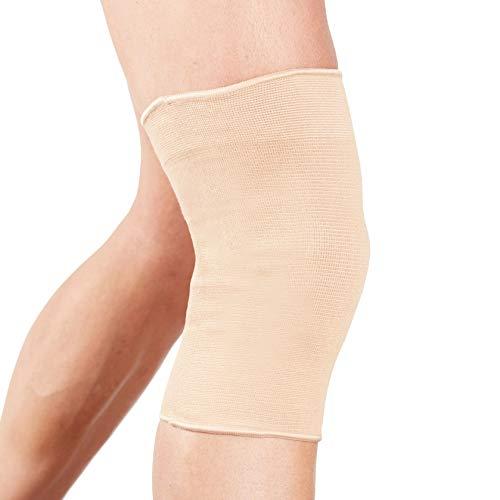 Órtesis rodillera tubular Actesso – Compresión elástica para alivio del dolor durante el ejercicio o después de una lesión (Mediana, Beige)