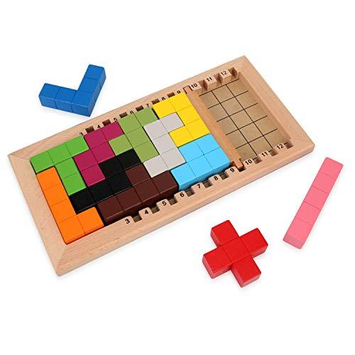 LanYo 知育玩具 パズルゲーム 木製のおもちゃテトリ 積み木 型はめ テトリス おもちゃ 教育 形合わせ