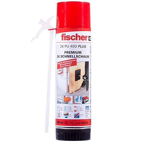 fischer Premium 2K Schnellschaum PU 400 PLUS, Montageschaum für schnelles & sicheres Befestigen, Bauschaum zum Aus- & Unterschäumen, optimiertes Aktivierungssystem, 400 ml
