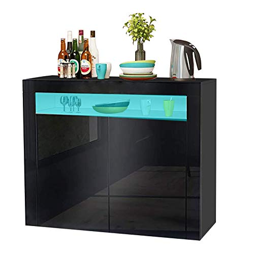 N\A LED Sideboard Cabinet - Storage Cupboard unit with Matt Body & High Gloss Front for Dining Room Living Room (Black 2 Doors)