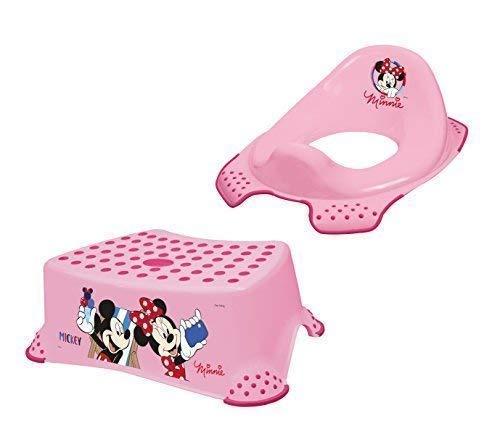 Disney Minni Maus 2er Set WC Aufsatz + Hocker Toilettentrainer + Waschhandschuh von KiNDERWELT