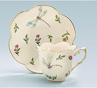 Porcelain Butterfly Teacup And Saucer With Gold Trim