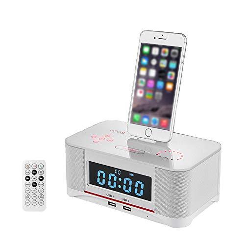 Drahtloser Bluetooth Lautsprecher Doppelter Wecker Docking Station UKW-Radio Mit NFC-Funktion/U-Disk-Wiedergabe/Fernbedienung Ladestation Lightning für iPhoneX/8/8 plus/7 plus/7/6s/6/6/plus/5S