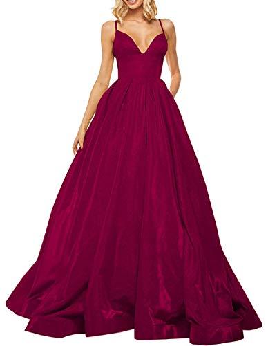 Elegant Abendkleid Lang A-Linie Ballkleid Partykleider Prinzessin Hochzeitskleid Satin Glitzer Festkleider Burgund 54
