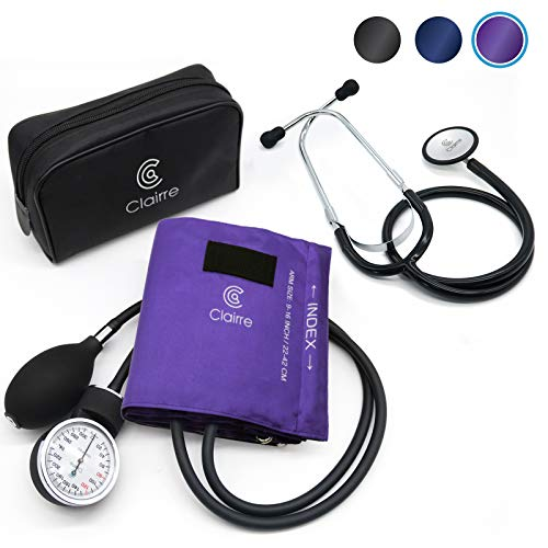 Clairre Professional Sphygmomanometer Manual Blood Pressure Cuff and Stethoscope Kit for...