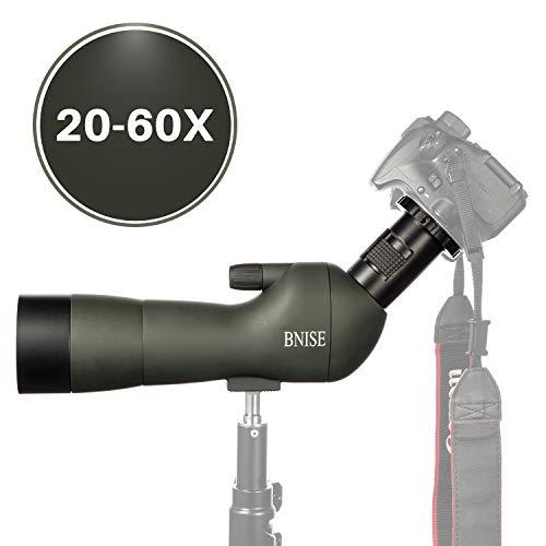BNISE® HD Cannocchiale Professionale Spotting Scope- 20-60x60 Zoom Telescopio Monocolo terrestre - Con Treppiede Palmare - Con Adattatori Per Fotocamere e Telefono Fotografia - Verde Militare