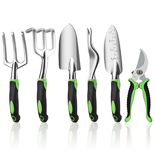 Ougenni Garden Tools Set,6 Pieces Outdoor Gardening Hand Tool Kit,Gardening Tools Set Gifts for Women and Men,Including Shovel, Rake, Fork, Weeder, Trimmer
