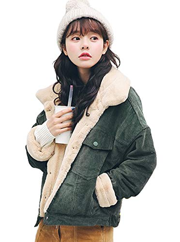CHARTOU Women Winter Thicked Sherpa Lined Relaxed Fit Corduroy Trucker Jacket Coat (Small, Green)