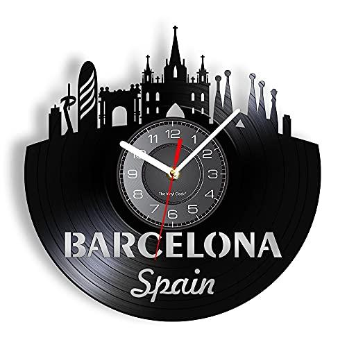 España Barcelona Skyline Reloj de Pared Cortado con láser Sagrada Familia Capital Cityscape Reloj de Pared Iluminado Regalo de viajeros 12 Pulgadas
