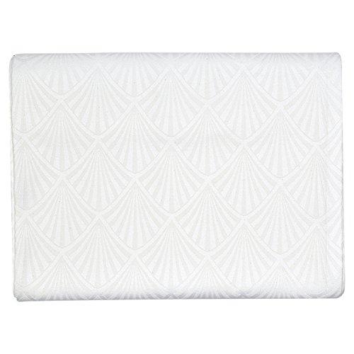 GreenGate Gate Noir - Tischdecke, Tischtuch, Decke - Celine Weiß - 100% Baumwolle - 150 x 250 cm - mit Art Deco Muster