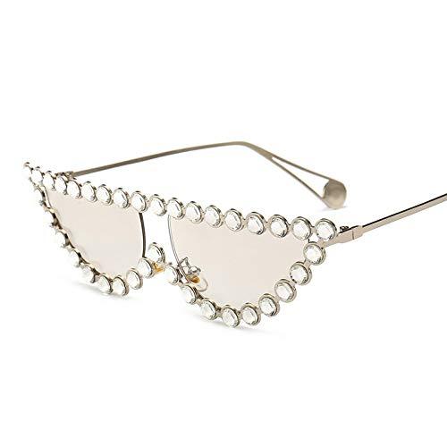 YOULIER Señoras de Lujo Rhinestone Gato Ojo Gafas de sol Mujeres Oro Metal Marco Gafas Pequeño Cateye Gafas de Sol Uv400 5504-3