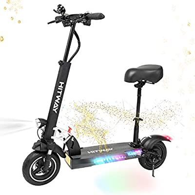HITWAY Electric Scooter, Folding Electric Offroad Scooter with Seat, Lightweight and Foldable E-Scooter for Adults, Height Adjustabe Commuting Scooter Maximum Load 200kg, 40 km Long-Range