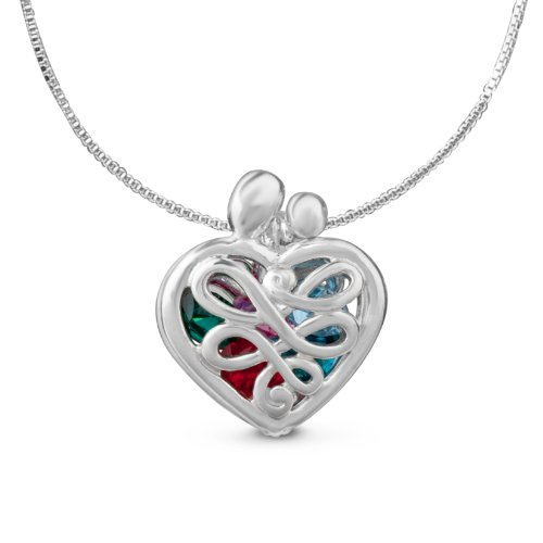 Loving Family Birthstone Heart Locket - Silver, Gold or Rose Gold
