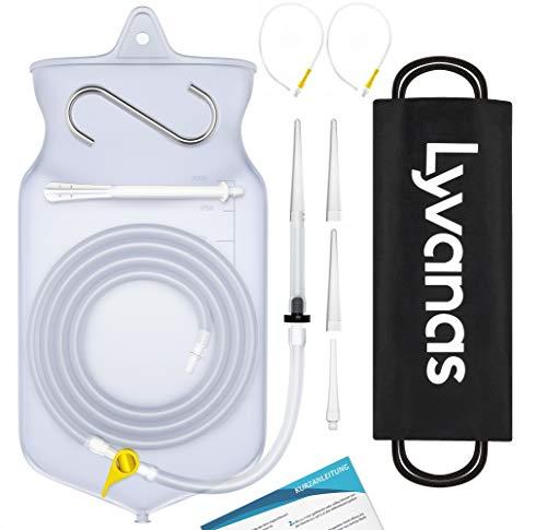 Lyvanas Einlauf Set Zur Darmreinigung (BPA- Und Phthalatfrei) - 2 Liter Klistier Set In Vollausstattung Für Alle Einläufe - Premium Reise Irrigator Set (Modell 2021)