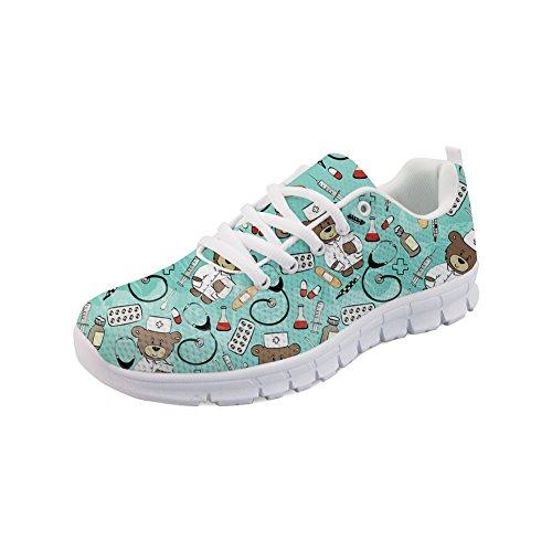 Showudesigns - Zapatillas de deporte para hombre y mujer, zapatos para enfermera, transpirables, con cordones, diseño de oso, color Gris, talla 35 EU