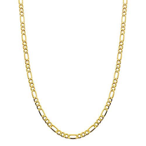 14 Karat 585 Gold Italienisch Flach Figaro Gelbgold Unisex Kette - Breite 5.50 mm (59)