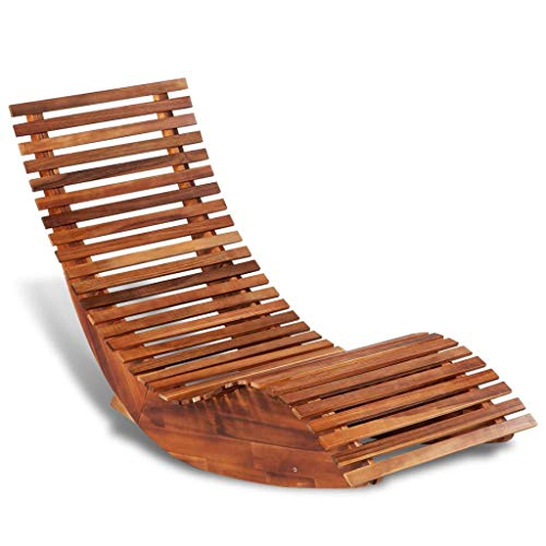 Vislone Schaukelstuhl Sonnenliege Akazienholz Gartenstuhl Holzschaukelstuhl Schwingliege Gartenliege Relaxliege Liegestuhl, 149x60x86 cm