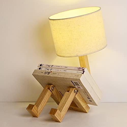 deepee Lampade da comodino robot creative in legno , testa girevole a 360 ° e lampada pieghevole con paralumi in tessuto Vite E27 per illuminazione decorativa soggiorno camera da letto