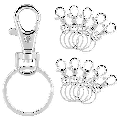 Schlüsselring Haken,50 stück Metall Schwenker Schlüsselring Haken,Abnehmbarer Metall Schlüsselbund,für Schlüssel,Zubehör Basteln Haken,Haustier Manschettenknöpfe