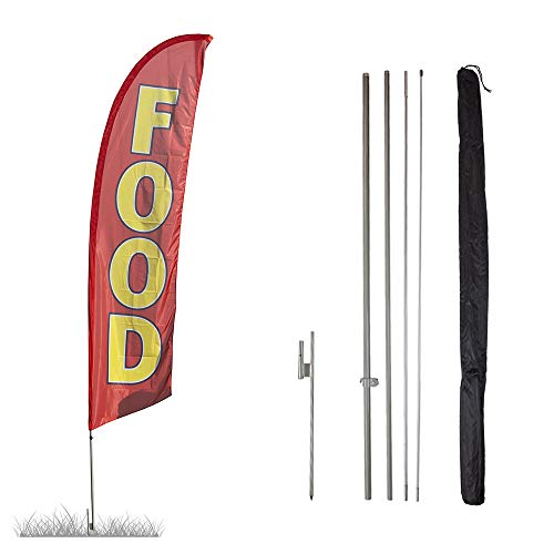Vispronet - Food Feather Flag Kit - 13.5ft Knitted Polyester Swooper Flag with Pole Set and Ground Spike - Printed in The USA