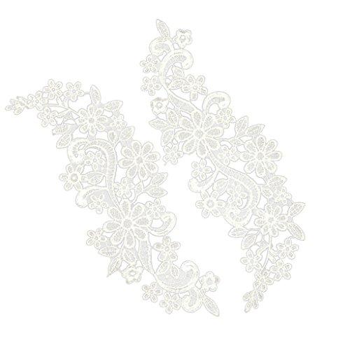 kowaku 1 Par de Apliques de Encaje de Tela, Parche con Motivo de Encaje de Flores para Vestido de Novia DIY - a, tal como se describe
