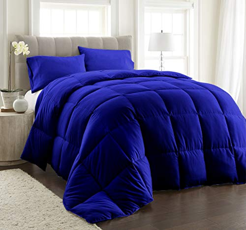 100% Organic Cotton Comforter Set Super Soft & Fluffy 400GSM 3-Piece Quilted Microfiber Down Alternative 400TC All Season Duvet Insert with Corner Tabs + 2 Pillow-Cases, Over-Size King, Royal Blue
