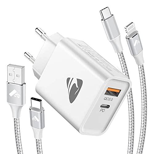 Aioneus 20W Caricatore USB C,PD3.0&QC3.0 2 Porte Caricabatterie USB,Carica Rapida Alimentatore USB,Cavo USB C Lightning MFi per iPhone 12 Pro Max/11/X/XR/8/iPad,2M Cavo USB C per Samsung S21/S20/S8/S9