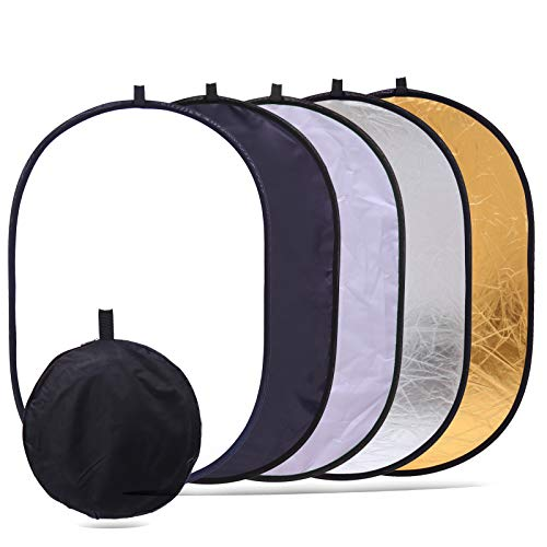 """5-in-1 Collapsible Light Reflector Photography 35"""" x 47"""" Photo Studio Foldable Backdrop Portable Oval Large Reflectors/Diffuser Accessories Kit with Carrying Case for Outdoor Camera Vedio Lighting"""