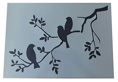 """Shabby Chic Schablone """"3 Vögel in einem Baum"""", Mylar, Vintage, A3,420x 297mm, Wandkunst"""