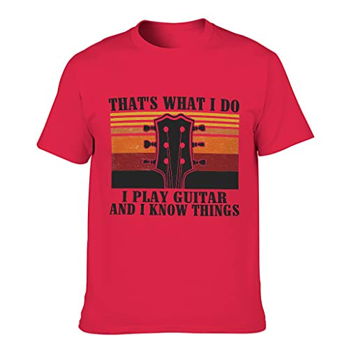 Men Womens Unisex Quick Dry T-Shirt Summer Tee Shirt 3D Short Sleeve T-Shirt That's What i do i Play Guitar and i Know Things Running Gym Tops red1 2XL