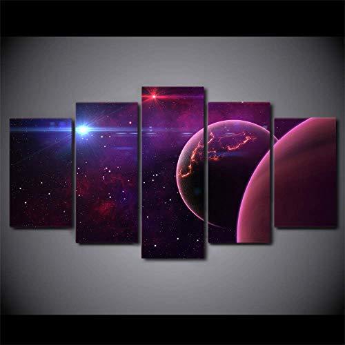 DGGDVP Moderne fotolijst, voor de woonkamer, 5 stuks, universum en wetenschap 40x60cmx2,40x80cmx2,40x100cmx1 No Frame
