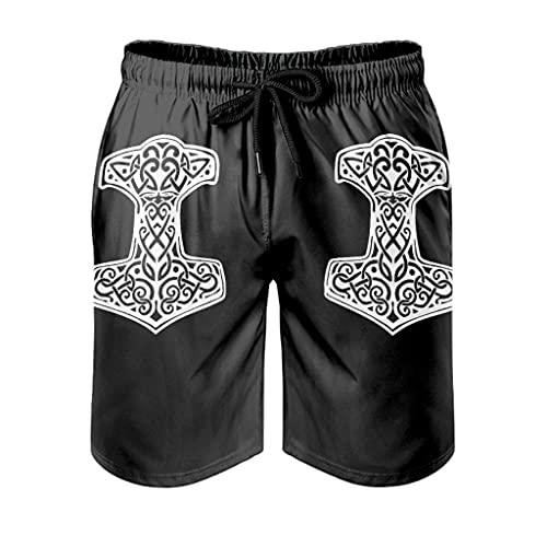 Bañador para hombre, diseño de martillo vikingo, para deportes acuáticos, estampado 3D con forro de malla, pantalones cortos para playa, correr, con cordón, bolsillos blancos, 4XL