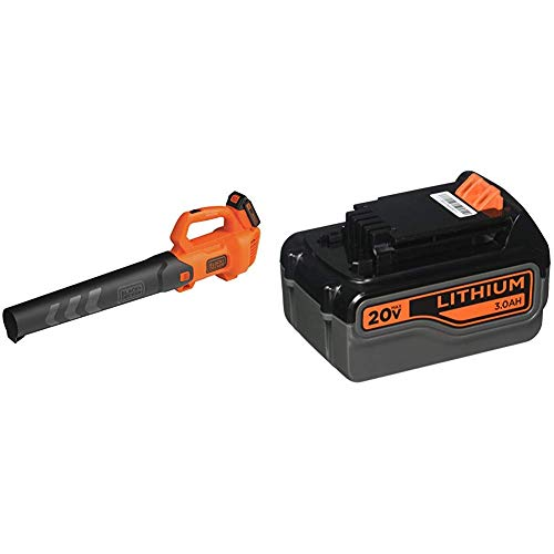 BLACK+DECKER 20V MAX Leaf Blower with Extra Lithium Battery 3.0 Amp Hour (BCBL700D1 & LB2X3020-OPE)