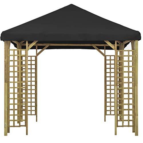 Lechnical Gazebo da Giardino Tendone da Giardino, Gazebo in Legno massello di Pino, Waterproof UV Protection Pavilion Garden Tent Party Tent 3x3 m Antracite