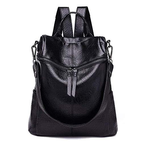 JNML Damesmode dames leren rugzakken casual schooltassen Laptoptas Multifunctionele rugzak, zwart