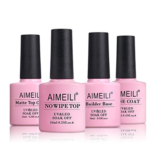 AIMEILI Gel Nagellack Set, No Wipe Top Coat und Base Coat, Matte Top Coat, 2 in 1 Builder Base Gel UV LED Gellack Gel Nagellack Basisset Nagelstarter-Kit