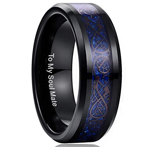 NUNCAD Wolfram Ring Herren Damen Unisex Keltische Drachen 8mm Schwarz + Kohlefasern Saphirblau für Fashion Hochzeit Verlobung Geeschenk Größe 54 (14)