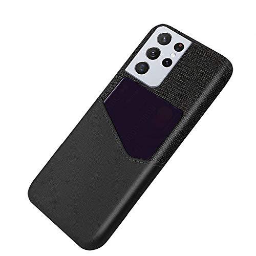 Galaxy S21 Ultra 5G ケース レザー調 シンプル カード収納付き 保護ケース 衝撃吸収 カバー サムスン ギャラクシー S21ウルトラ 頑丈 ハードケース スマホケース おしゃれ スマホカバー スマートフォン ケース カバー[Galaxy
