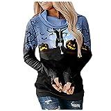 NHNKB Sudadera con capucha para mujer, diseño de Halloween, F azul., XL