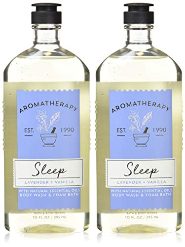 Bath and Body Works Aromatherapy Sleep Lavender Vanilla Body Wash Foam Bath 10 Ounces per bottle - 2 Pack