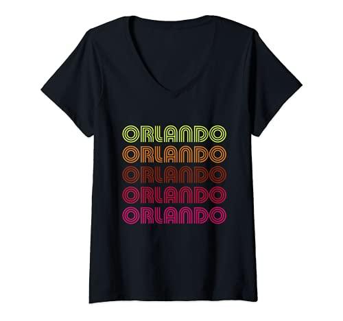 Damen Retro Orlando Florida Inline Schrift Disco Design Vintage T-Shirt mit V-Ausschnitt
