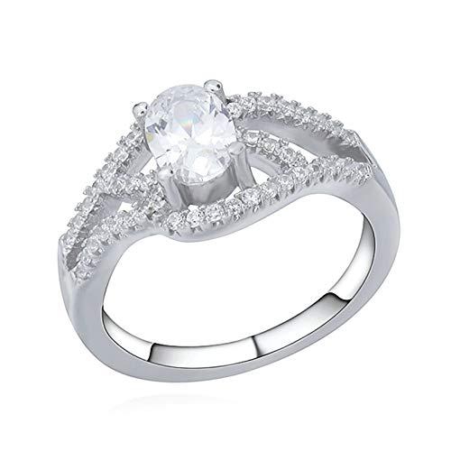 Beglie 925 Sterling Silber Damen Ring Verlobungsring Hochzeitsringe Bandring Hohl Geometrie Oval Zirkonia Ringe Frauen mit Stein Weiß Trauringe Fingerabdruck Größe 54 (17.2)