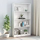SOONHUA Bookcase Bookshelves 4-Tier Book Cabinet Storage Rack Storage Display Cabinet Open Bookshelf Organizer Free Standing Book Shelf for Living Room White 31.5