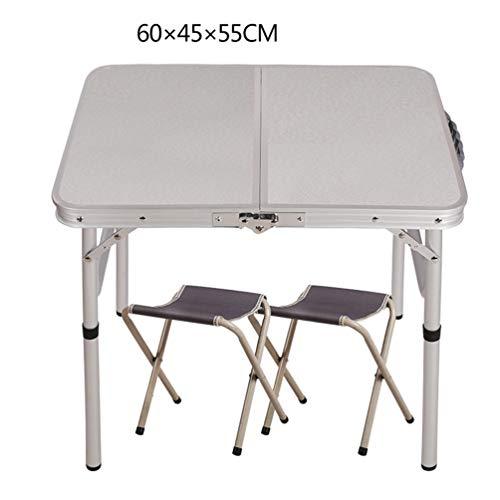 Opvouwbare tafel van aluminiumlegering, 2 x klapstoel, waterdicht, voor binnen en buiten, reizen, vissen, picknick, strand, wandelen grijs