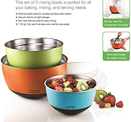 LIEFDE 3 Non-Skid, Tricolor Stainless Steel Mixing Bowls with Vacuum LIDS, Size 1.5QT, 3QT and 5QT
