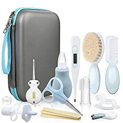 Lictin Baby Grooming Kit Newborn Care - 15PCS Baby Health Care Set Portable Baby Thermometer Kit, Safety Cutter Baby Nail Kit for Nursing Baby Girl Boys Heath and Grooming (Light Blue)